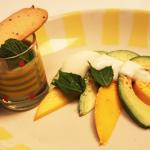 Thumbnail image for California Avocado and Mango with Honey Yogurt and Avocado Liquado with Lavender Shortbread Cookie