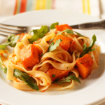 Thumbnail image for Butternut Squash and Tagliatelle with Red Pepper Sauce, Lemon and Arugula