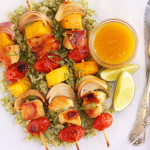 Thumbnail image for Mango & Chicken Kabobs with Mango Ginger Dipping Sauce and Green Tomatillo Rice