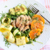 Thumbnail image for Sliced Chicken Salad with Zucchini Ribbons, Avocado, Oranges and Dijon Vinaigrette