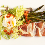 Thumbnail image for Poached Egg, Prosciutto, Roasted Asparagus & Frisée Salad with Romesco Sauce
