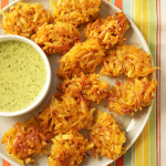 Thumbnail image for Arañitas con Mojo de Ajo ~ Shredded Green Plantain Fritters with Garlic Onion Sauce