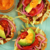 Thumbnail image for Panuchos ~ Tortillas filled with Black Beans topped with Achiote Chicken, Avocado & Habanero Salsa