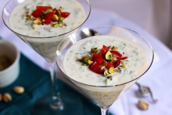 Post image for Cold Cucumber Soup with Tomato and Pistachio