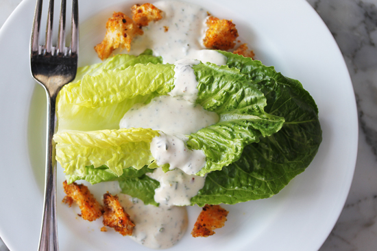 Post image for Goat Cheese Dressing with Orange-Chili Croutons