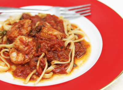 Linguini with Shrimp and Tomato Sauce