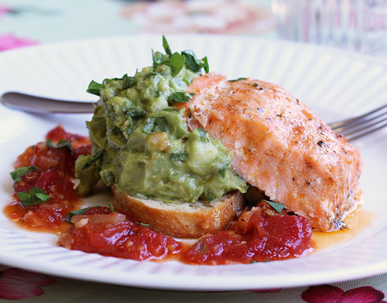 Post image for Salmon with Avocado and Sweet Chili Sauce from Grace-Marie's Kitchen at Bristol Farms