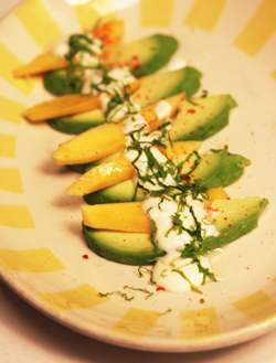 Avocado Mango Dessert with Shredded Mint Leaves