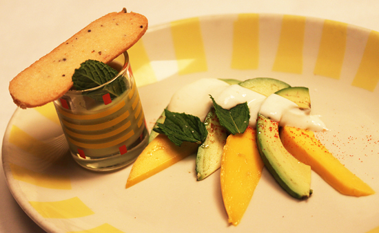 Post image for California Avocado and Mango with Honey Yogurt and Avocado Liquado with Lavender Shortbread Cookie