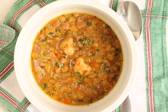 Post image for Yellow Split Pea Soup with Shrimp and Ham