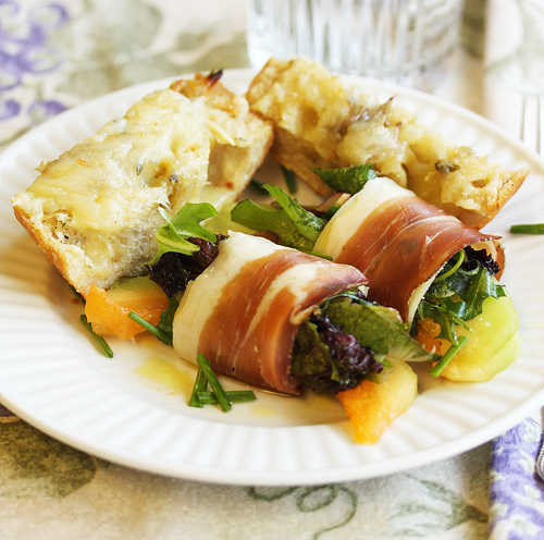 Alto Adige Speck Wrapped Melon and Savory Bread Toasts