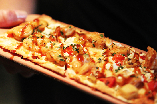 Chipotle Shrimp with Roasted Poblans, Grilled Pineapple and Feta Cheese