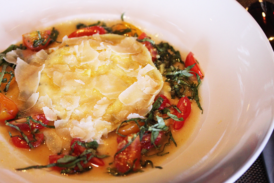 Goat Cheese Ravioli with Roasted Garlic, Basil and Light Tomato Broth