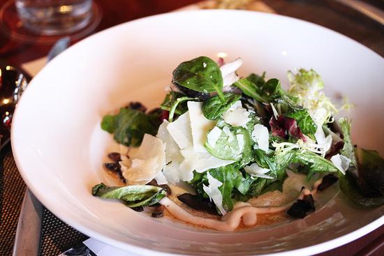 Organic Greens with Oak-Grilled Mushroms and Truffle Dressing