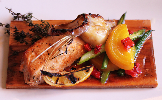 Wild Pacific Salmon and Sea Scallop Roasted on a Cedar Plank