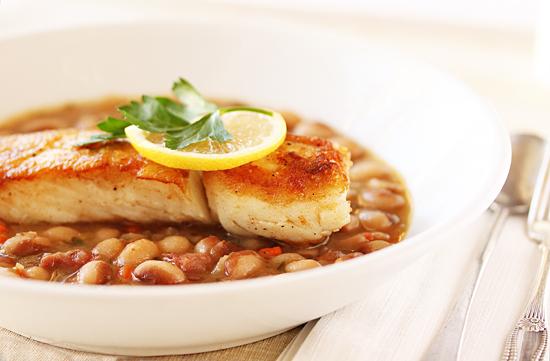 Rancho Gordo Yellow Eye Bean Ragout with Crispy Fish