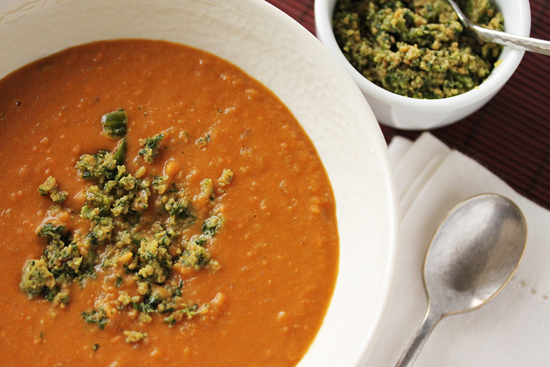 Post image for Sweet Potato and Coconut Soup with Thai Pesto