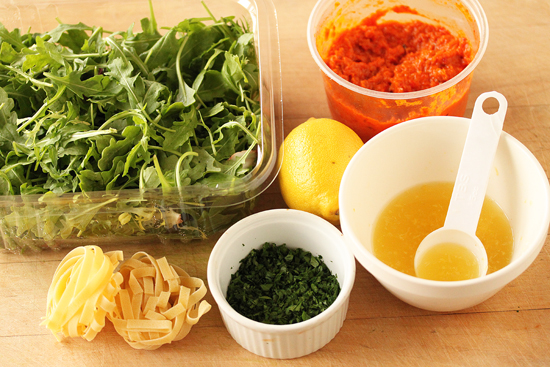 Butternut Squash Tagliatelle with Red Pepper Sauce, Arugula and Lemon 2