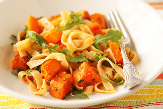 Butternut Squash Tagliatelle with Red Pepper Sauce, Arugula and Lemon 3