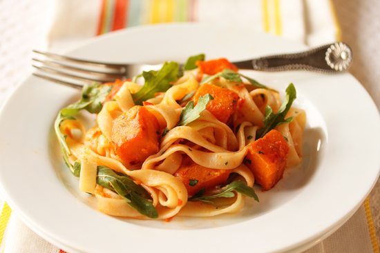 Post image for Butternut Squash and Tagliatelle with Red Pepper Sauce, Lemon and Arugula