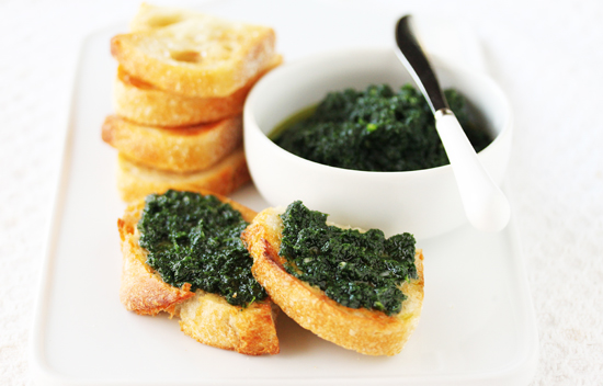 Crostini with Rustic Kale Pesto 4