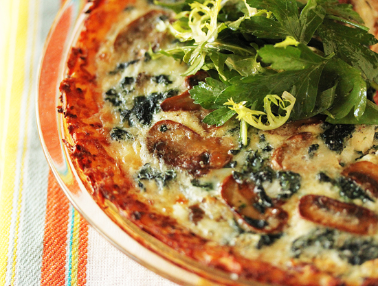 Mushroon and Spinach Quiche with Shredded Potato Crust