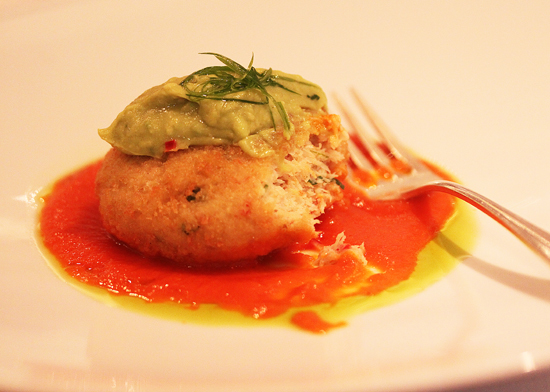 Maine Crab Cake, Todd's Fiery Sweet & Sour Tomato Sauce, Whipped Avocado & Cucumber Salad