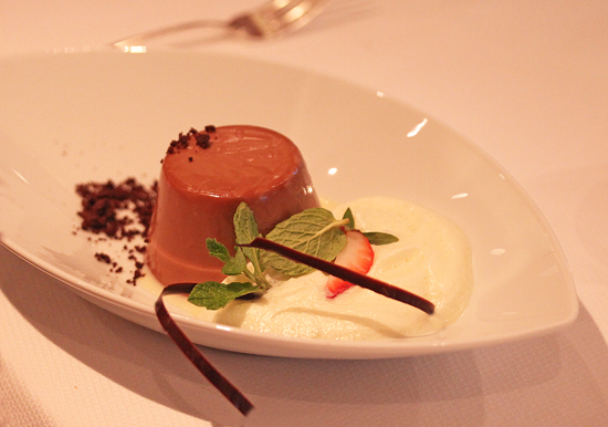 Milk Chocolate Panna Cotta with Cardamom Foam