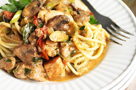 Chicken, Sausage, Asparagus and  Mushroom Pasta 4