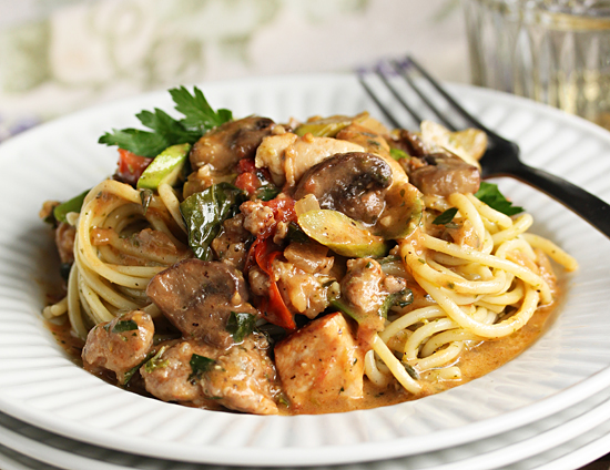 Post image for Chicken, Sausage, Asparagus and Mushroom Pasta from  Grace-Marie's Kitchen at Bristol Farms