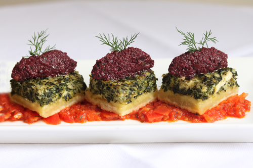 Spinach and Feta Quiche with Kalamata Olive Tapenade