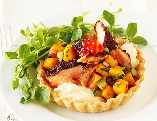 Post image for Blackened Salmon Tarts With Mango Salsa