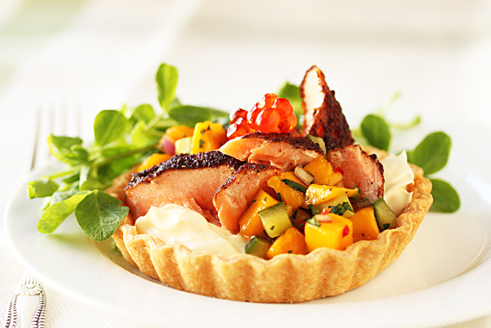 Blackened Salmon Tart with Creme Fraiche and Mango Salsa 2