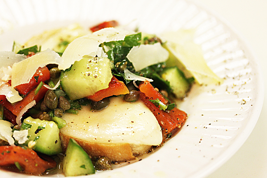 Provolone Bruschetta with Cucumber & Pepper Salad