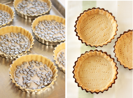 Tartlet Pastry  with Pie Weights and Baked
