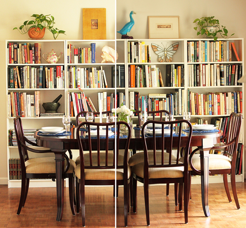 Full Bookcases with Cookbooks