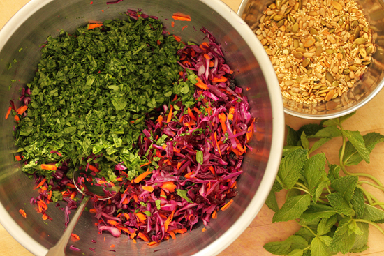 Beet, Red Cabbage and Carrot Salad with Seeds and Orange Pomegranate Molasses Dressing 1