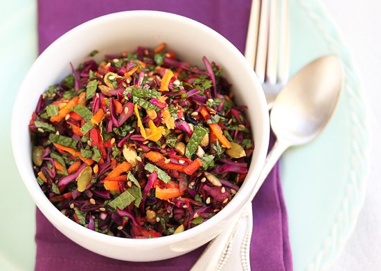 Post image for Beet, Red Cabbage & Carrot Salad with Seeds, Currants and Orange Pomegranate Molasses Dressing