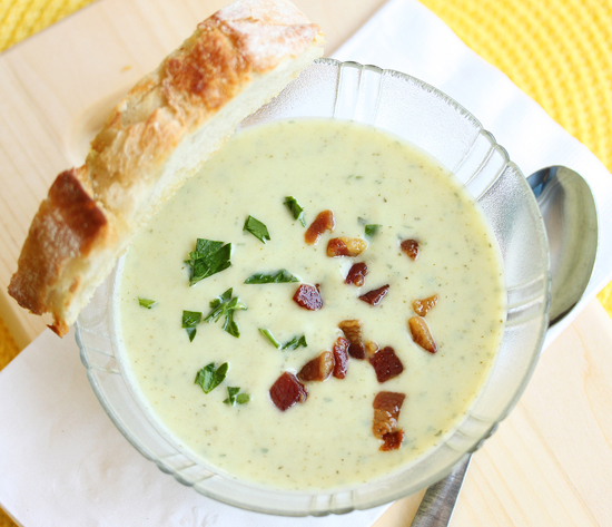 Post image for Chilled Leek and Zucchini Soup with Pancetta from Grace-Marie's Kitchen at Bristol Farms