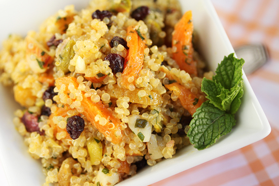 Post image for Quinoa Salad with Pistachios, Currants and Dried Apricots Kissed with Orange, Rice Vinegar and Sesame Oil