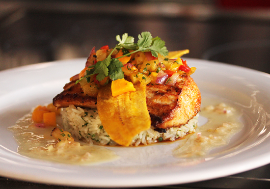 Chili Lime Rubbed Hawaiian Mahi Mahi with Ginger Jasmine Rice and Roasted Tropical Fruit Chutney by Chef Yvon Goetz