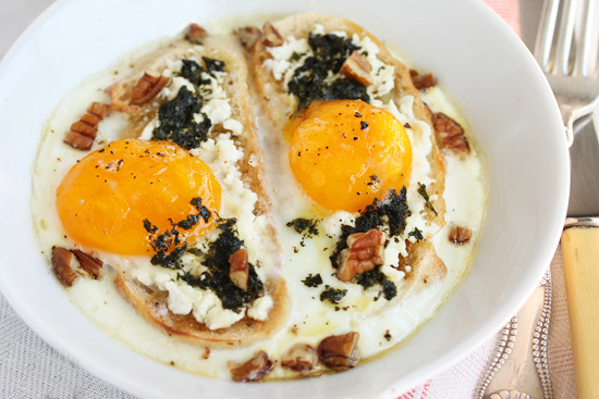 Post image for Baked Eggs with Goat Cheese & Basil-Mint Pesto