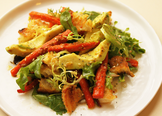 Post image for Cumin Garlic Roasted Carrots & Avocado Salad with Citrus Dressing, Arugula and Sesame Seeds