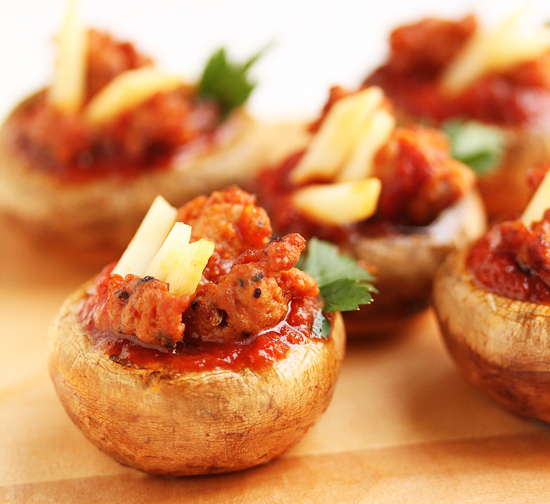 Spicy Sausage Pizza Stuffed Mushrooms