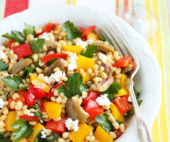 Post image for Wheat Berry, Green Olive & Roasted Pepper Salad