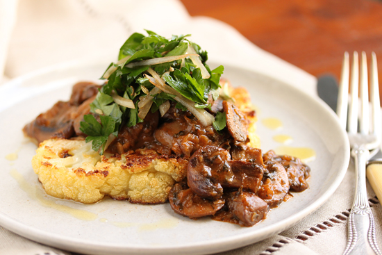 Cauliflower Steak with Mushroom Ragout & Hee Hee 2