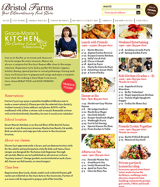 Grace-marie's Kitchen Cooking School Schedule 2