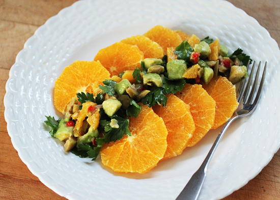 Orange Salad with Avocado, Green Olive & Orange Salsa 1
