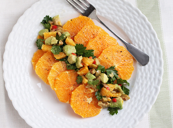 Orange Salad with Avocado, Green Olive & Orange Salsa 4