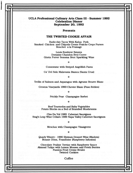 The Twisted Cookie Affair Menu in 1992